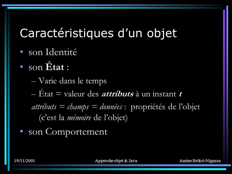 Amine Brikci-Nigassa 19/11/2001Approche objet & Java Caractéristiques dun objet son Identité son État : –Varie dans le temps –État = valeur des attributs à un instant t attributs = champs = données : propriétés de lobjet (cest la mémoire de lobjet) son Comportement