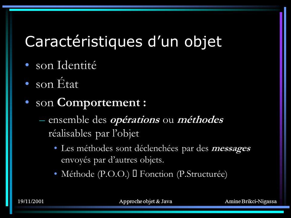 Amine Brikci-Nigassa 19/11/2001Approche objet & Java Deux méthodes particulières : –Constructeur et –Destructeur