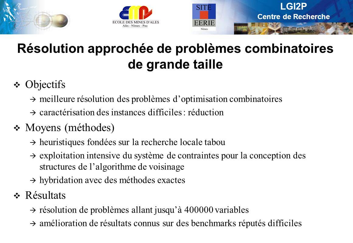 LGI2P Centre de Recherche Problèmes traités Sac-à-dos multidimensionnel en 0-1 : meilleurs minorants connus [IJCAI, 2001], [RAIRO, 2002] Planification de photos satellite SPOT5 : meilleurs minorants [J.