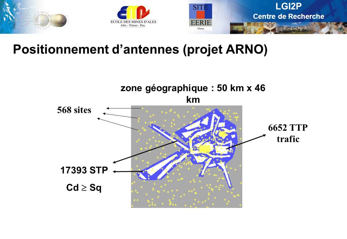 LGI2P Centre de Recherche Positionnement dantennes (projet ARNO) zone géographique : 50 km x 46 km 17393 STP Cd Sq 568 sites 6652 TTP trafic