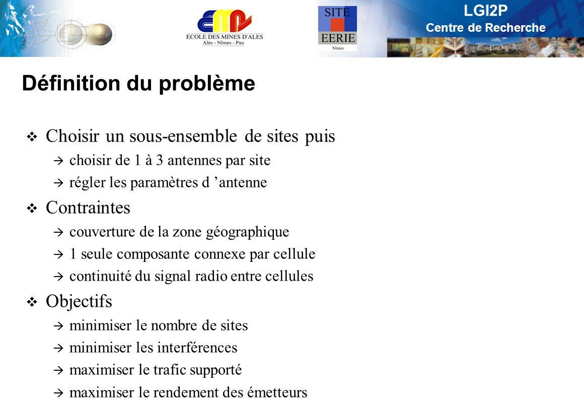 LGI2P Centre de Recherche Définition du problème Choisir un sous-ensemble de sites puis choisir de 1 à 3 antennes par site régler les paramètres d ant