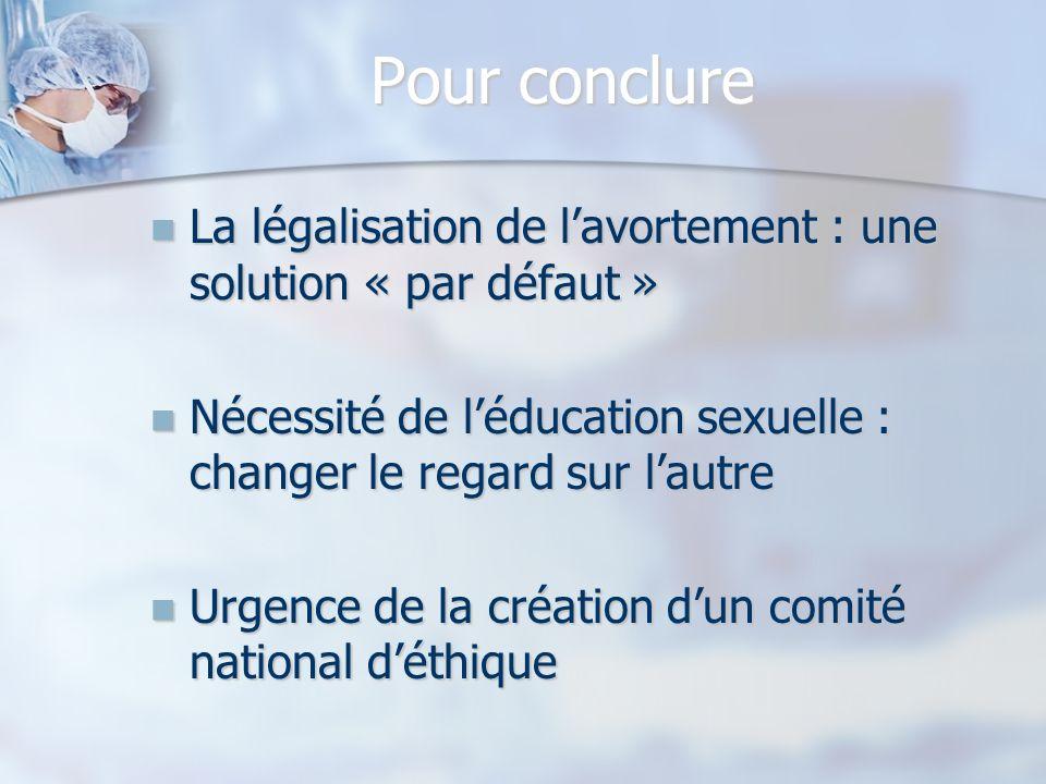 Pour conclure La légalisation de lavortement : une solution « par défaut » La légalisation de lavortement : une solution « par défaut » Nécessité de l