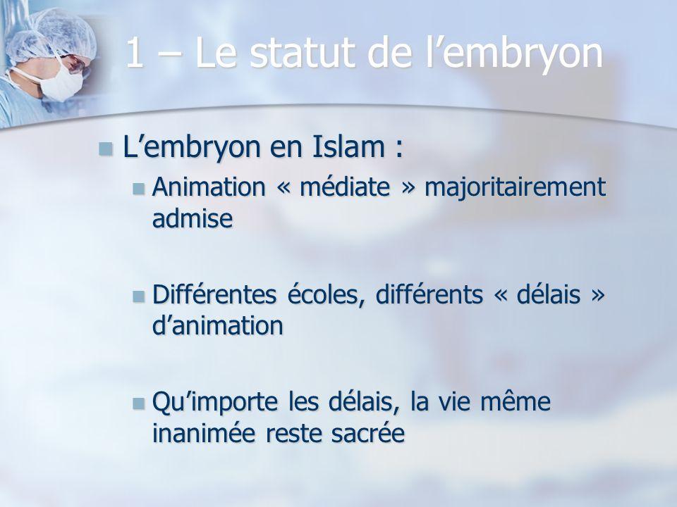 1 – Le statut de lembryon Lembryon en Islam : Lembryon en Islam : Animation « médiate » majoritairement admise Animation « médiate » majoritairement a