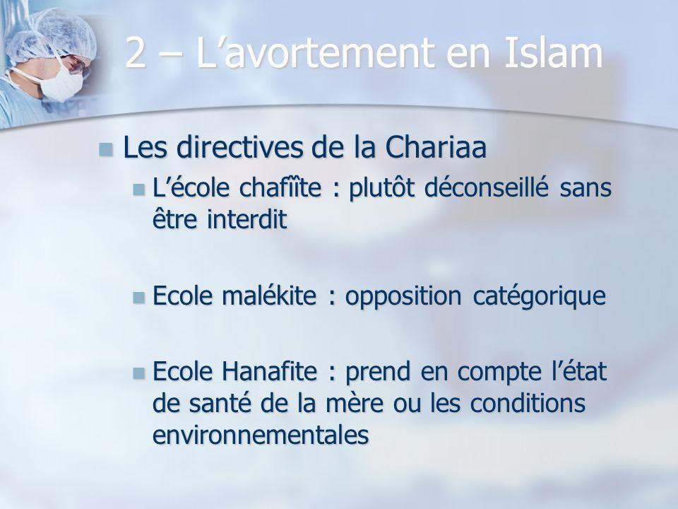 2 – Lavortement en Islam Les directives de la Chariaa Les directives de la Chariaa Lécole chafîîte : plutôt déconseillé sans être interdit Lécole chaf
