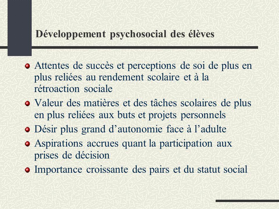 Développement psychosocial des élèves Attentes de succès et perceptions de soi de plus en plus reliées au rendement scolaire et à la rétroaction socia