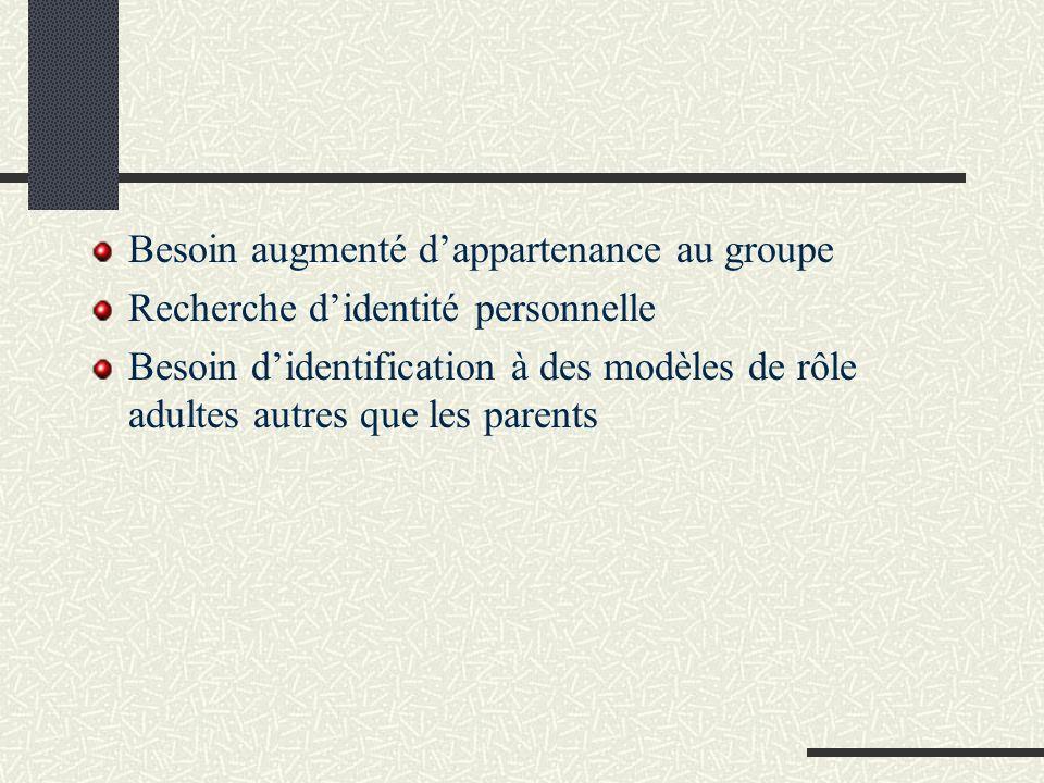 Besoin augmenté dappartenance au groupe Recherche didentité personnelle Besoin didentification à des modèles de rôle adultes autres que les parents