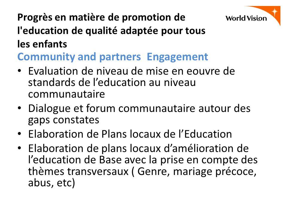 Progrès en matière de promotion de l'education de qualité adaptée pour tous les enfants Community and partners Engagement Evaluation de niveau de mise