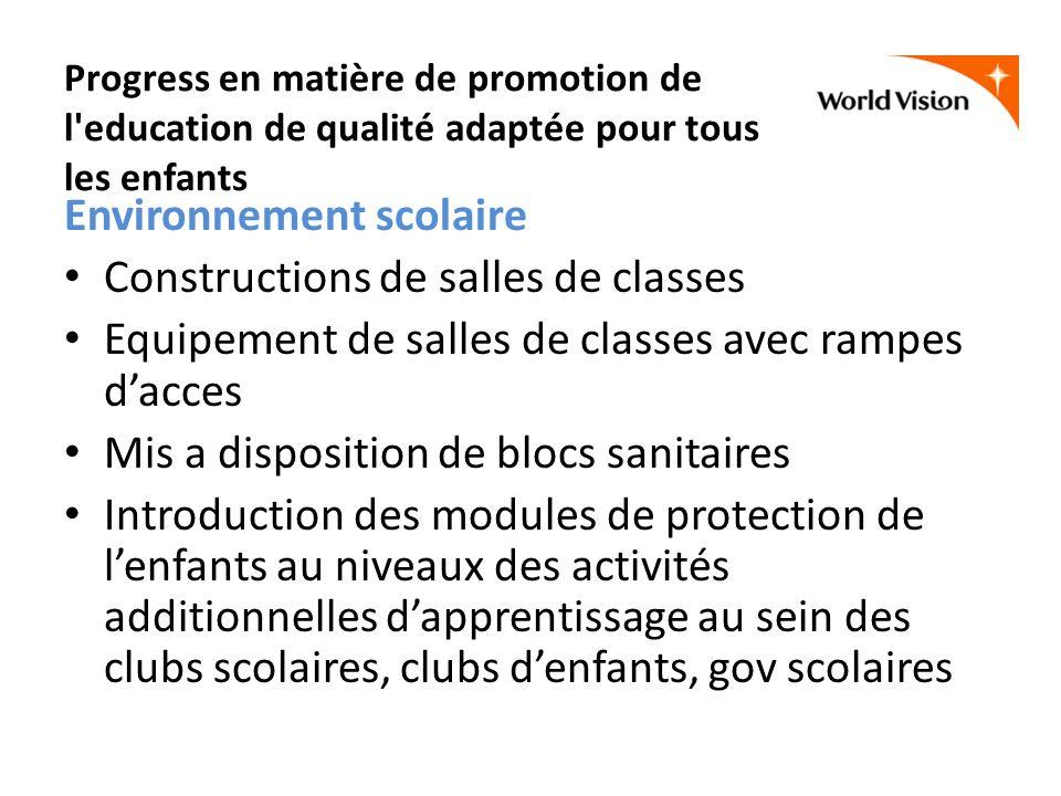Progress en matière de promotion de l'education de qualité adaptée pour tous les enfants Environnement scolaire Constructions de salles de classes Equ
