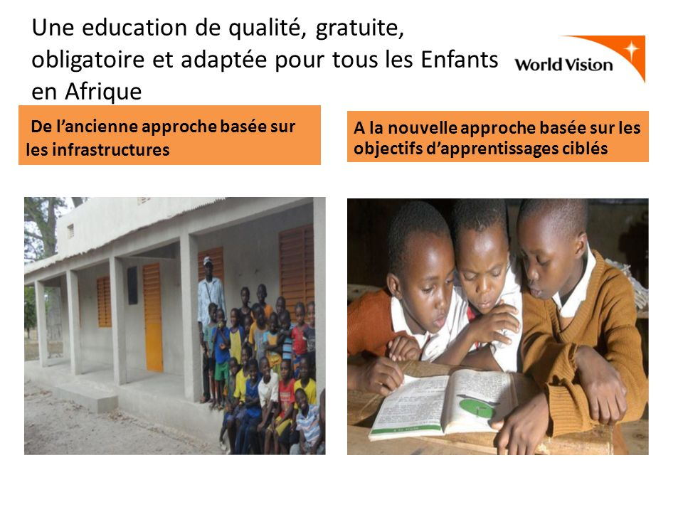 Une education de qualité, gratuite, obligatoire et adaptée pour tous les Enfants en Afrique Nos cibles stratégiques ECD: Développement integré de la Petite enfance (3-5) School Age (6-12) Positive adolescent Development: (13-18)