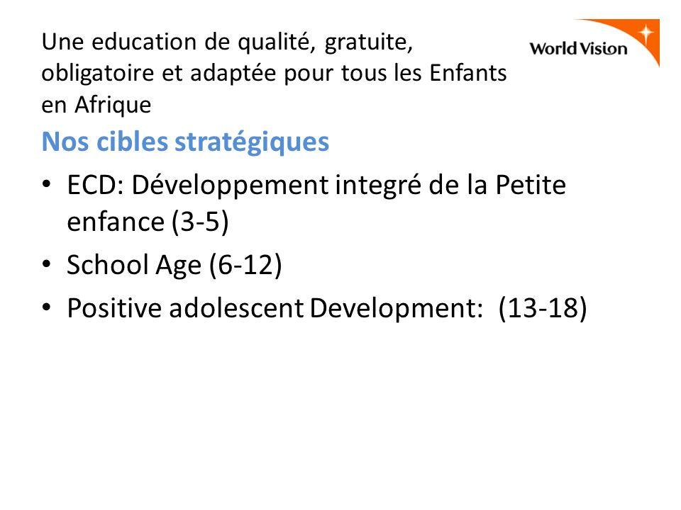 Une education de qualité, gratuite, obligatoire et adaptée pour tous les Enfants en Afrique Nos cibles stratégiques ECD: Développement integré de la P