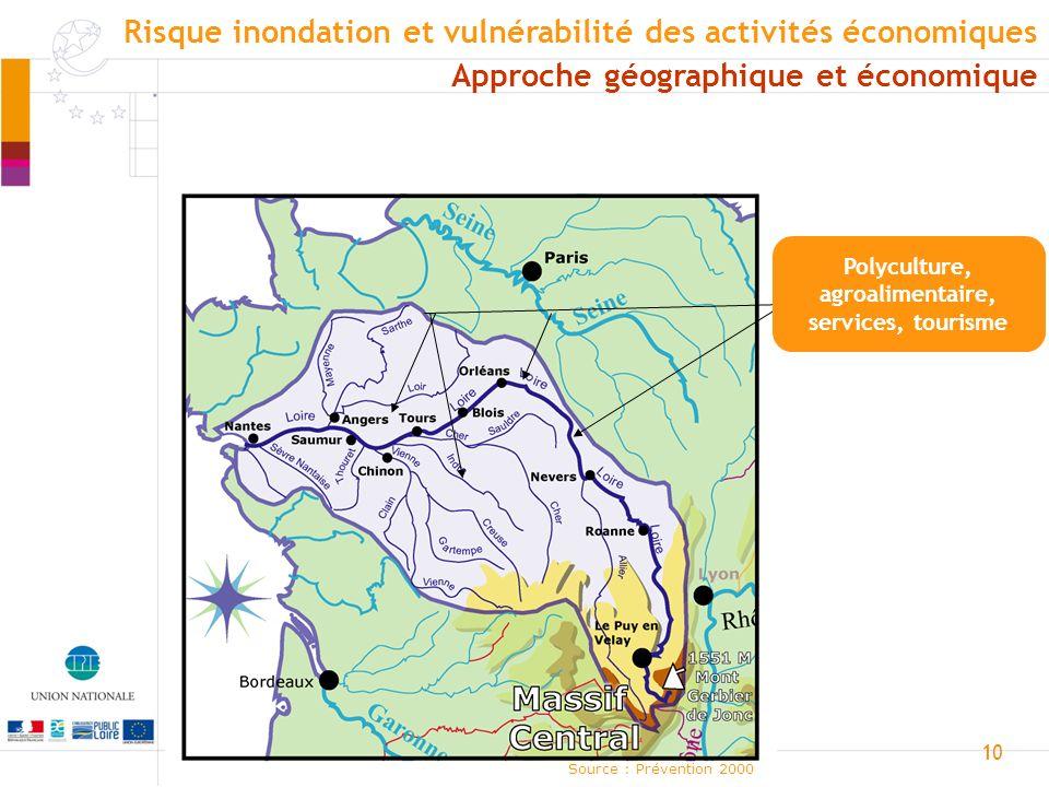 11 Loire aval Source : Prévention 2000 Approche géographique et économique Risque inondation et vulnérabilité des activités économiques