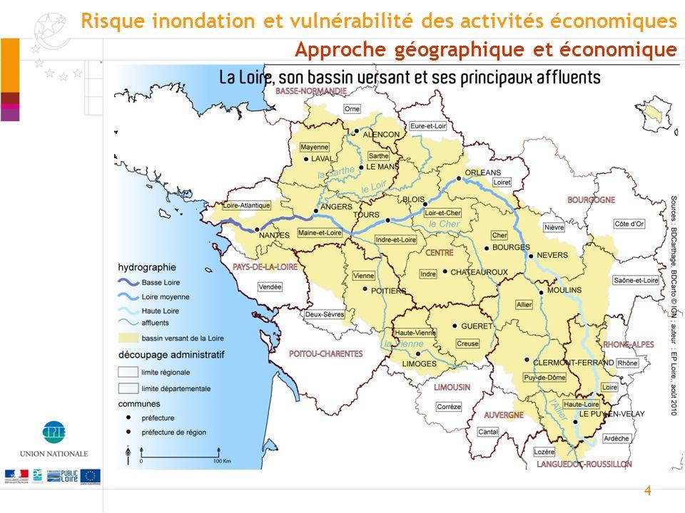 5 Loire amont Source : Prévention 2000 Approche géographique et économique Risque inondation et vulnérabilité des activités économiques