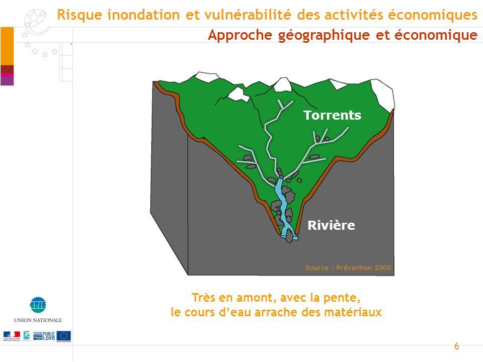 7 Élevage, hydroélectricité et tourisme Source : Prévention 2000 Approche géographique et économique Risque inondation et vulnérabilité des activités économiques