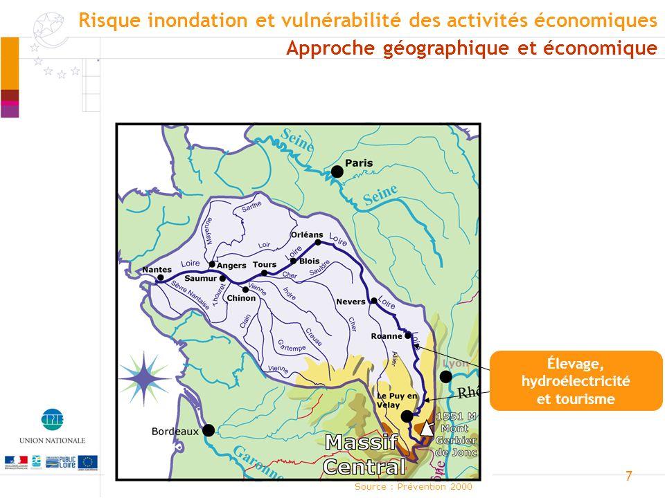 8 Loire moyenne Source : Prévention 2000 Approche géographique et économique Risque inondation et vulnérabilité des activités économiques