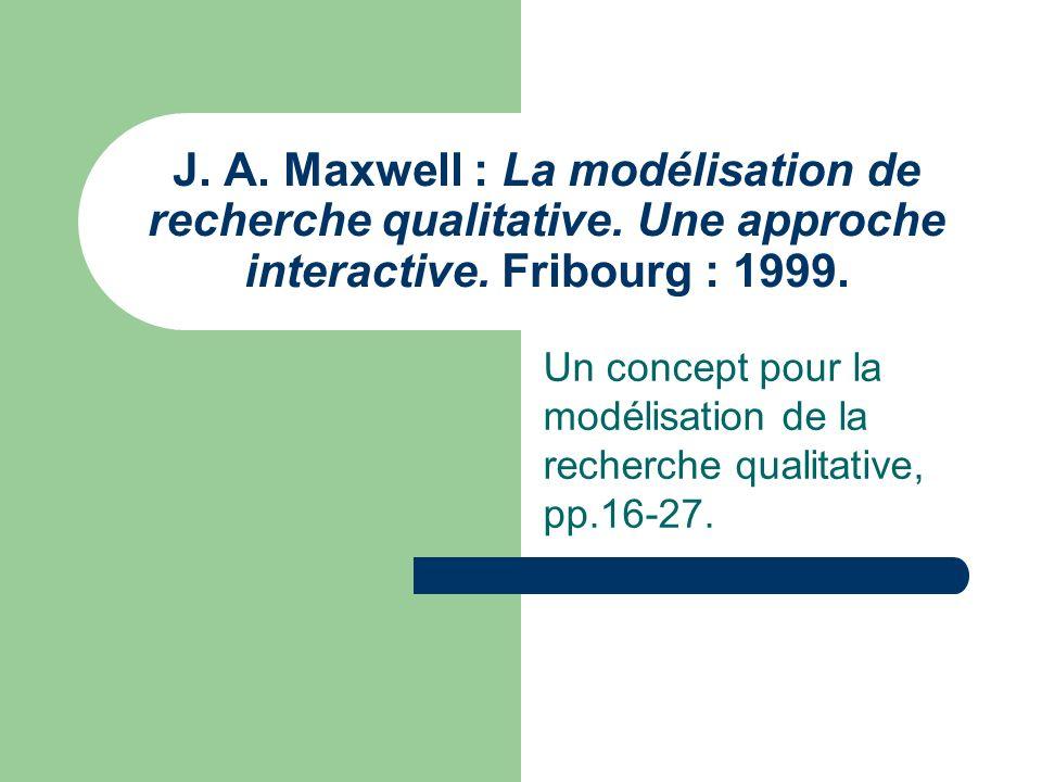 Raisons dutilisation du modèle de recherche selon Maxwell (1999) Composé déléments - clé clairement identifiables auxquels le chercheur peut se référer Interaction et interconnexion entre les différents éléments du modèle