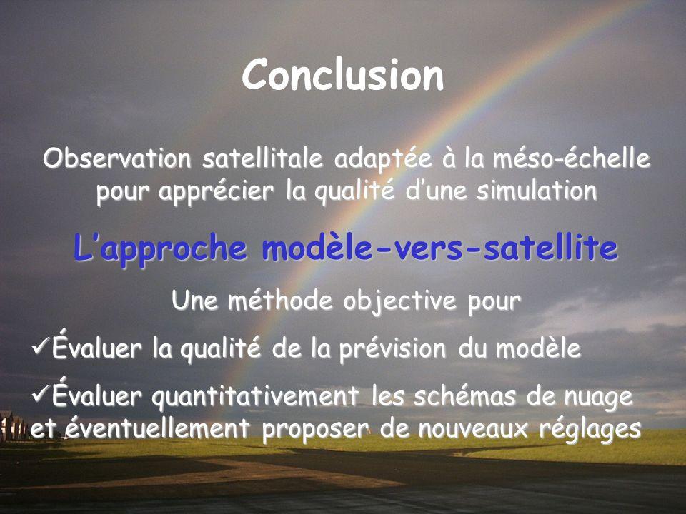 Conclusion Observation satellitale adaptée à la méso-échelle pour apprécier la qualité dune simulation Lapproche modèle-vers-satellite Une méthode obj
