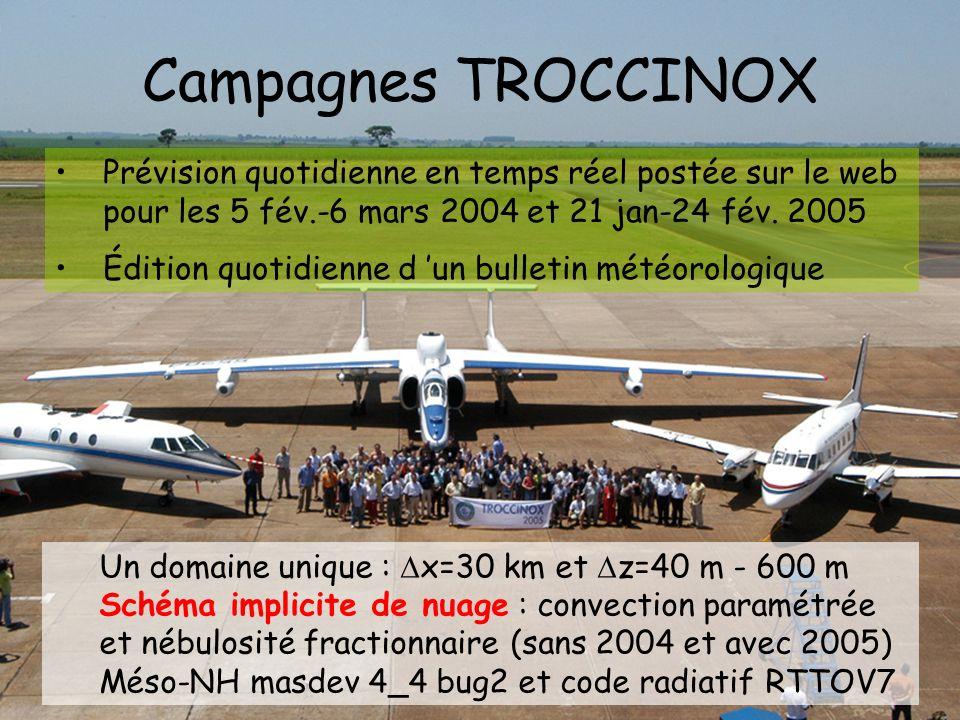 Campagnes TROCCINOX Un domaine unique : x=30 km et z=40 m - 600 m Schéma implicite de nuage : convection paramétrée et nébulosité fractionnaire (sans