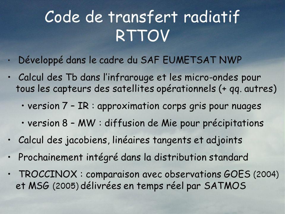Code de transfert radiatif RTTOV Développé dans le cadre du SAF EUMETSAT NWP Calcul des Tb dans linfrarouge et les micro-ondes pour tous les capteurs