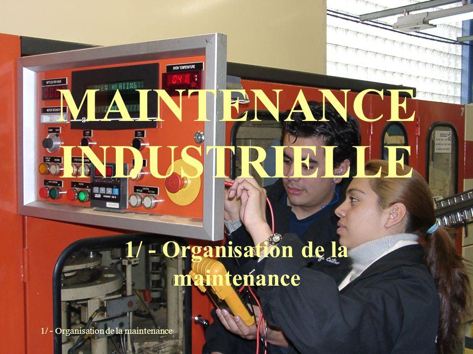 ORGANISATION DE LA MAINTENANCE PLAN : 1-Approche de la maintenance 2-Les méthodes de maintenance 3-Les opérations de maintenance 4-Les niveaux de maintenance 5-La gestion des interventions 6-Le concept de qualité totale