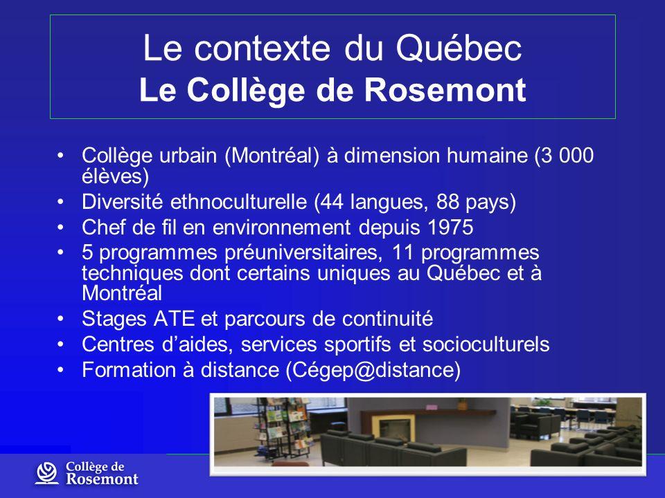 Le contexte du Québec Le Collège de Rosemont Collège urbain (Montréal) à dimension humaine (3 000 élèves) Diversité ethnoculturelle (44 langues, 88 pa