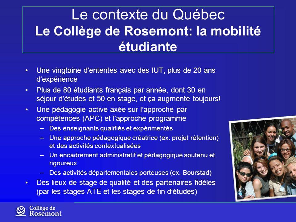 Le contexte du Québec Le Collège de Rosemont: la mobilité étudiante Une vingtaine dententes avec des IUT, plus de 20 ans dexpérience Plus de 80 étudia