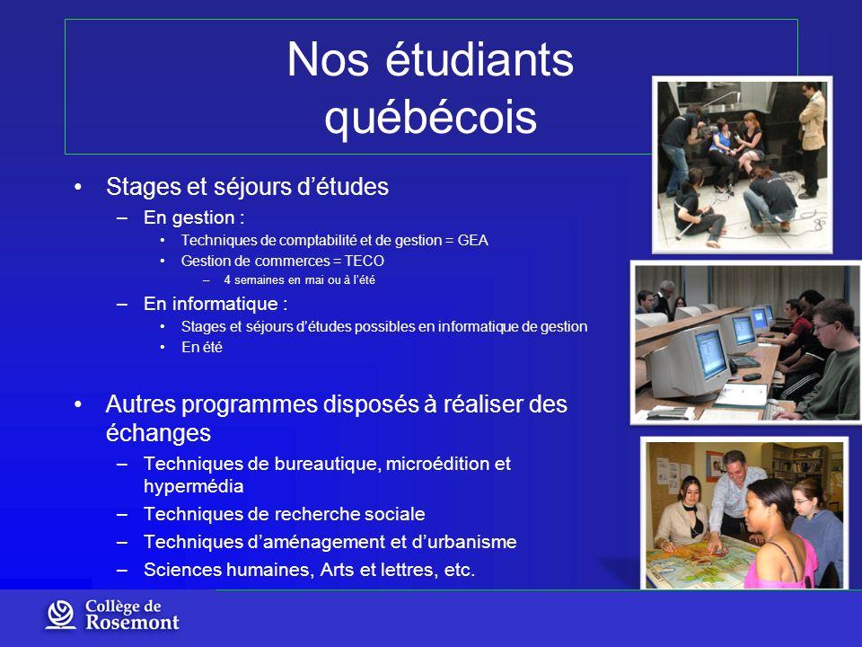 Nos étudiants québécois Stages et séjours détudes –En gestion : Techniques de comptabilité et de gestion = GEA Gestion de commerces = TECO –4 semaines