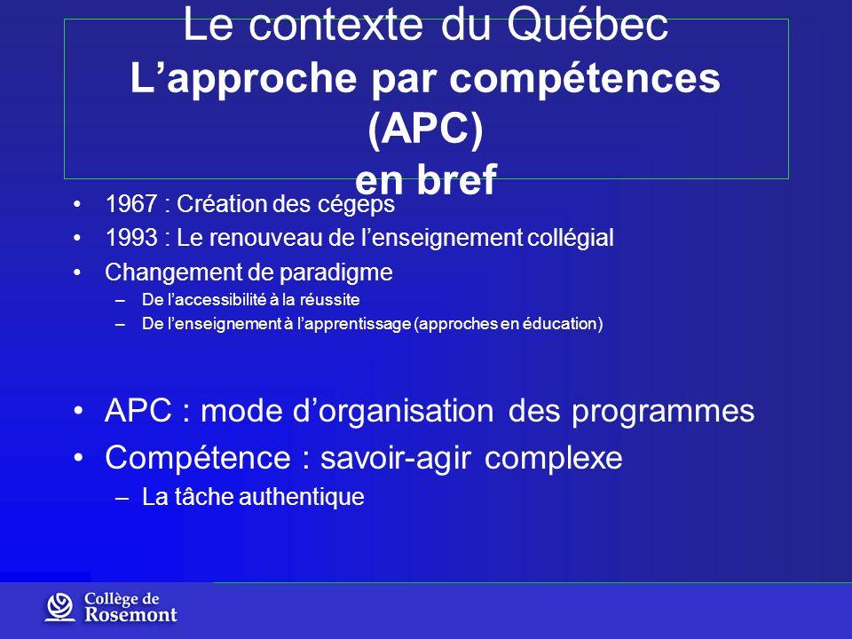 Le contexte du Québec Lapproche par compétences (APC) en bref 1967 : Création des cégeps 1993 : Le renouveau de lenseignement collégial Changement de