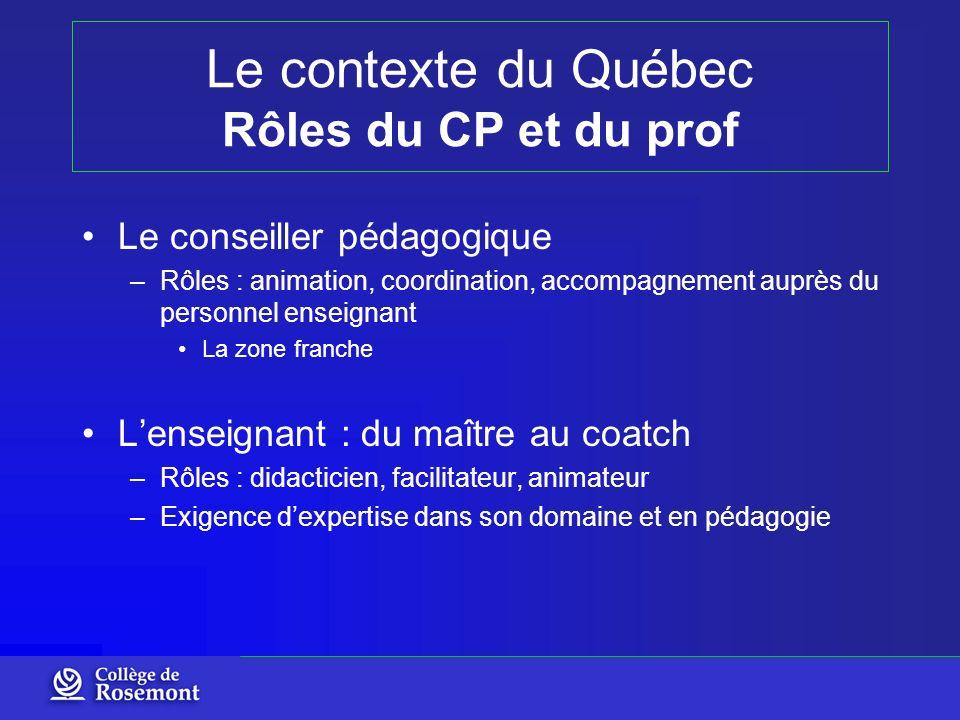 Le contexte du Québec Rôles du CP et du prof Le conseiller pédagogique –Rôles : animation, coordination, accompagnement auprès du personnel enseignant