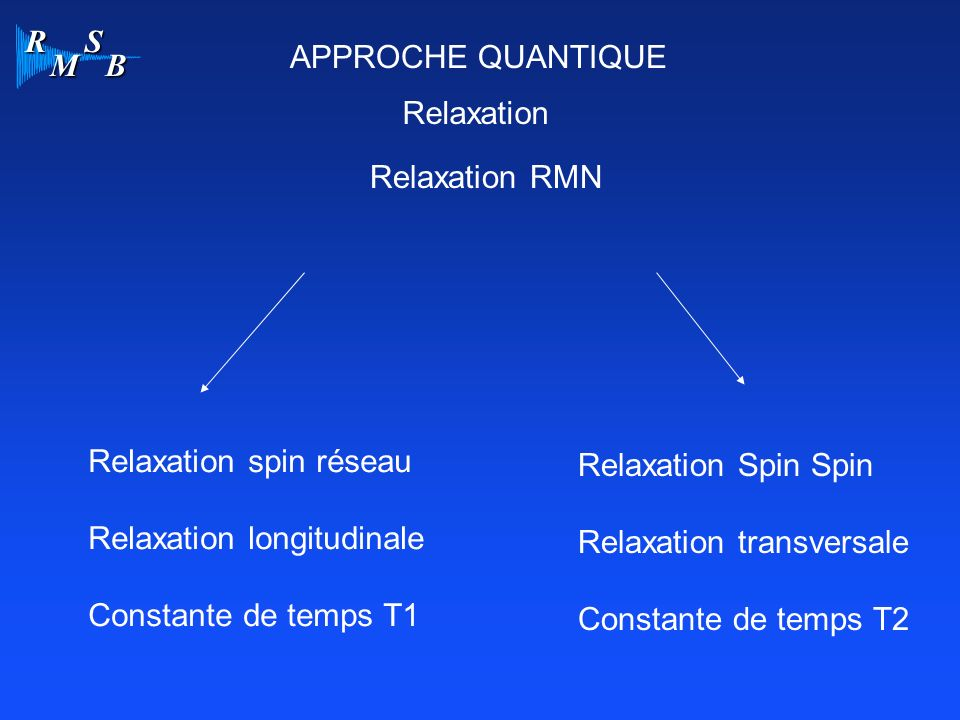R M S B APPROCHE QUANTIQUE Relaxation Relaxation RMN Relaxation spin réseau Relaxation longitudinale Constante de temps T1 Relaxation Spin Spin Relaxa