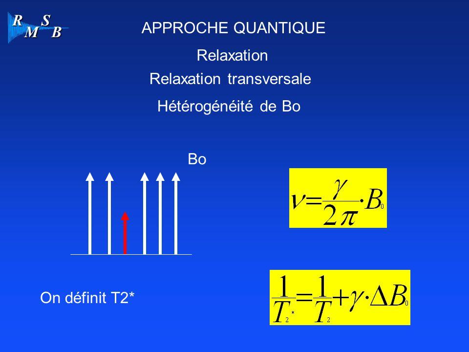 R M S B APPROCHE QUANTIQUE Relaxation Relaxation transversale Hétérogénéité de Bo Bo On définit T2*