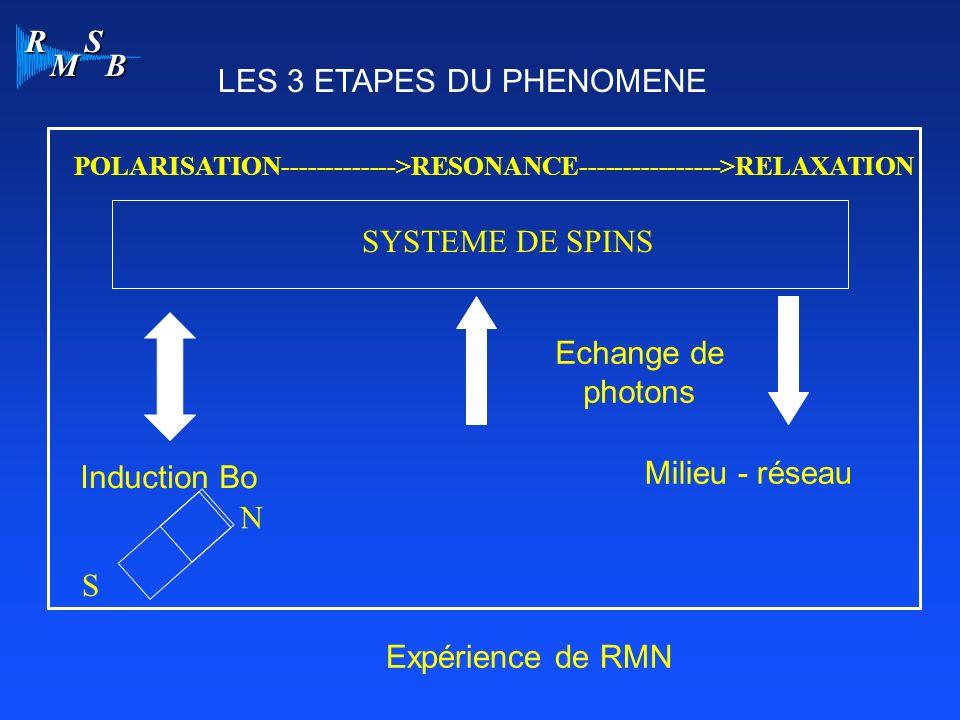 R M S B POLARISATION------------->RESONANCE---------------->RELAXATION Induction Bo N S Milieu - réseau Echange de photons SYSTEME DE SPINS Expérience de RMN LES 3 ETAPES DU PHENOMENE