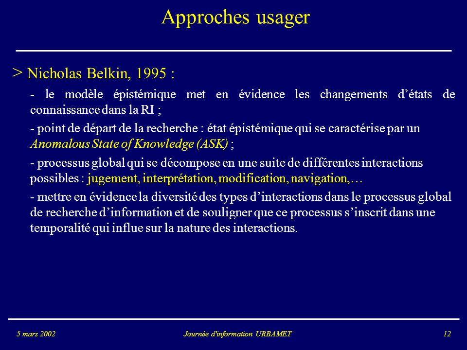 Journée d information URBAMET5 mars 200212 Approches usager > Nicholas Belkin, 1995 : - le modèle épistémique met en évidence les changements détats de connaissance dans la RI ; - point de départ de la recherche : état épistémique qui se caractérise par un Anomalous State of Knowledge (ASK) ; - processus global qui se décompose en une suite de différentes interactions possibles : jugement, interprétation, modification, navigation,… - mettre en évidence la diversité des types dinteractions dans le processus global de recherche dinformation et de souligner que ce processus sinscrit dans une temporalité qui influe sur la nature des interactions.