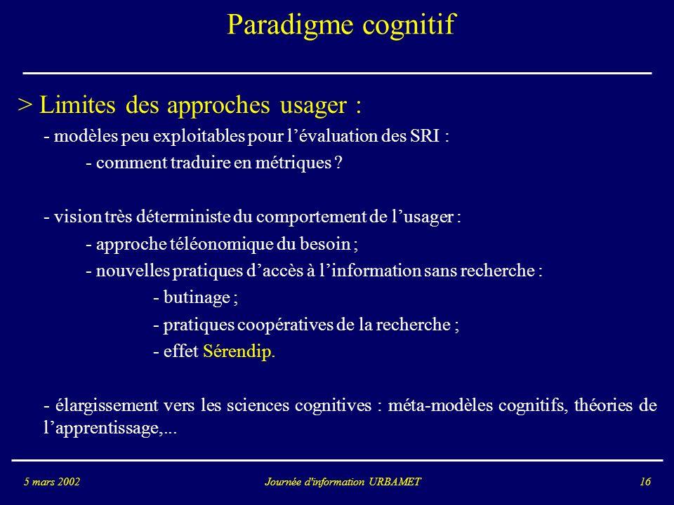 Journée d information URBAMET5 mars 200216 Paradigme cognitif > Limites des approches usager : - modèles peu exploitables pour lévaluation des SRI : - comment traduire en métriques .