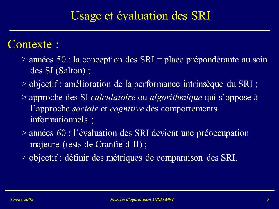 Journée d information URBAMET5 mars 20022 Usage et évaluation des SRI Contexte : > années 50 : la conception des SRI = place prépondérante au sein des SI (Salton) ; > objectif : amélioration de la performance intrinsèque du SRI ; > approche des SI calculatoire ou algorithmique qui soppose à lapproche sociale et cognitive des comportements informationnels ; > années 60 : lévaluation des SRI devient une préoccupation majeure (tests de Cranfield II) ; > objectif : définir des métriques de comparaison des SRI.