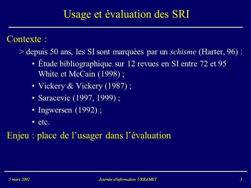Journée d information URBAMET5 mars 200214 Approches usager > Tefko Saracevic, 1997 : - propose une vision globale du processus de recherche qui identifie : - la composante situationnelle (informations liées aux contextes dusages : tâches, définition du problème) ; - la composante intentionnelle (analyse des croyances et motivations des usagers) ; - la composante cognitive (représentation des connaissances de lusager) ; - la composante requête (caractéristiques des questions de lusager) ; - la composante interface homme-machine ; - la composante système du logiciel de recherche (puissance, mémoire, etc..) ; - la composante logiciel et algorithmique ( composants du SRI) ; - la composante fonds documentaire (structure et caractéristiques de la base documentaire).
