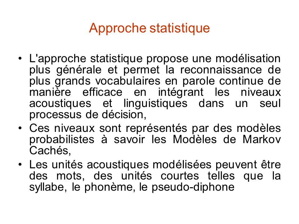 Approche statistique L'approche statistique propose une modélisation plus générale et permet la reconnaissance de plus grands vocabulaires en parole c