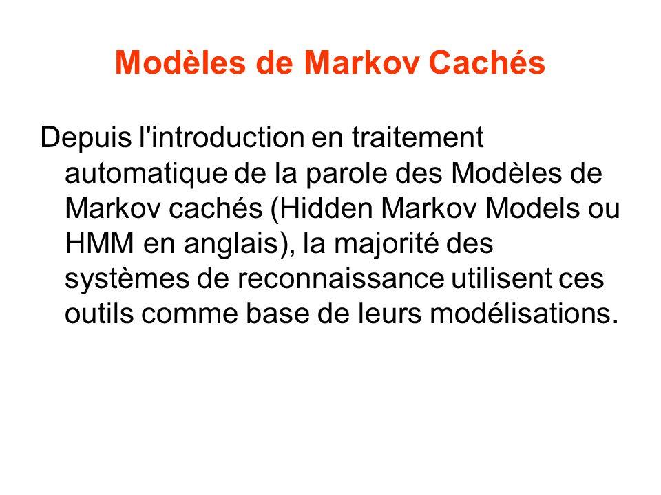 Modèles de Markov Cachés Depuis l introduction en traitement automatique de la parole des Modèles de Markov cachés (Hidden Markov Models ou HMM en anglais), la majorité des systèmes de reconnaissance utilisent ces outils comme base de leurs modélisations.