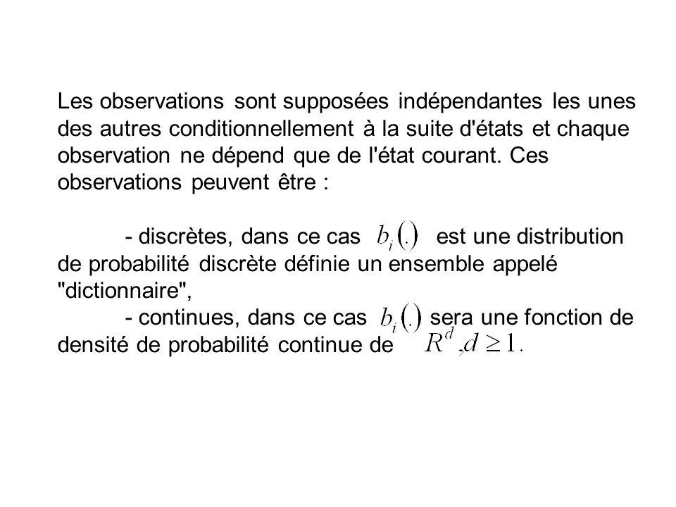 Les observations sont supposées indépendantes les unes des autres conditionnellement à la suite d états et chaque observation ne dépend que de l état courant.