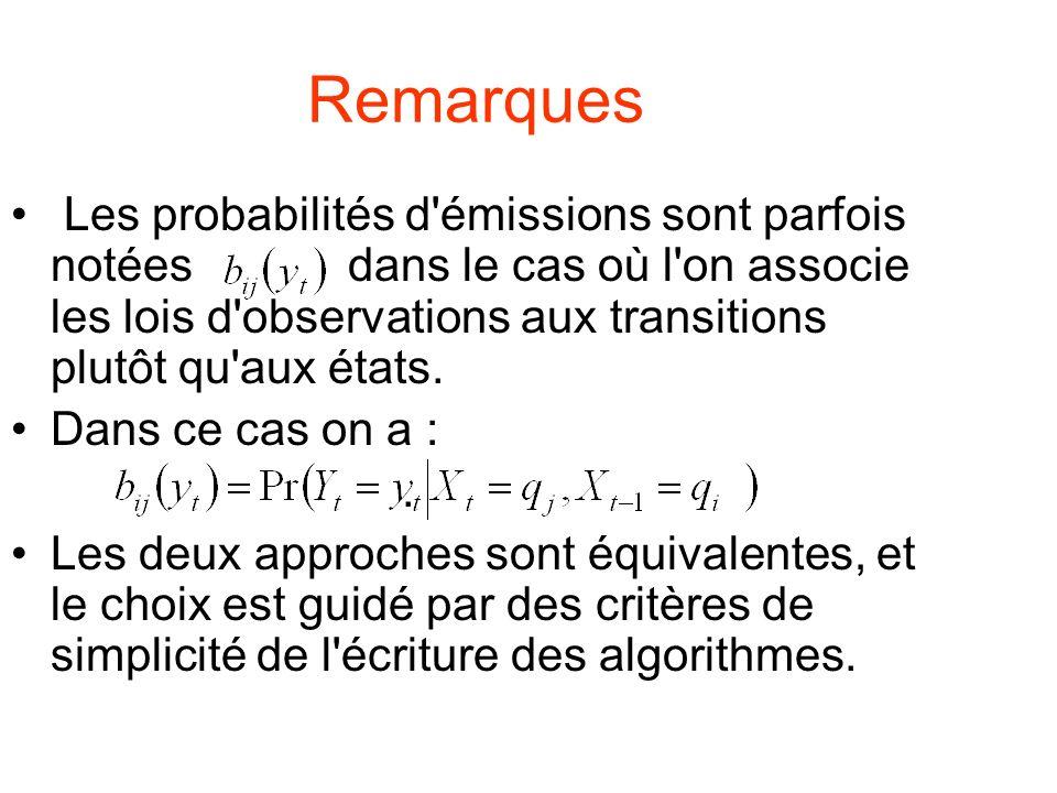 Remarques Les probabilités d émissions sont parfois notées dans le cas où l on associe les lois d observations aux transitions plutôt qu aux états.