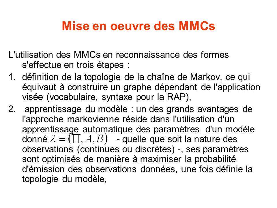 Mise en oeuvre des MMCs L utilisation des MMCs en reconnaissance des formes s effectue en trois étapes : 1.définition de la topologie de la chaîne de Markov, ce qui équivaut à construire un graphe dépendant de l application visée (vocabulaire, syntaxe pour la RAP), 2.