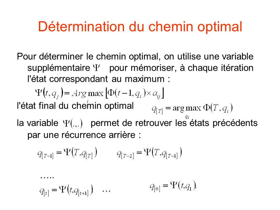 Détermination du chemin optimal Pour déterminer le chemin optimal, on utilise une variable supplémentaire pour mémoriser, à chaque itération l état correspondant au maximum : l état final du chemin optimal la variable permet de retrouver les états précédents par une récurrence arrière : …..