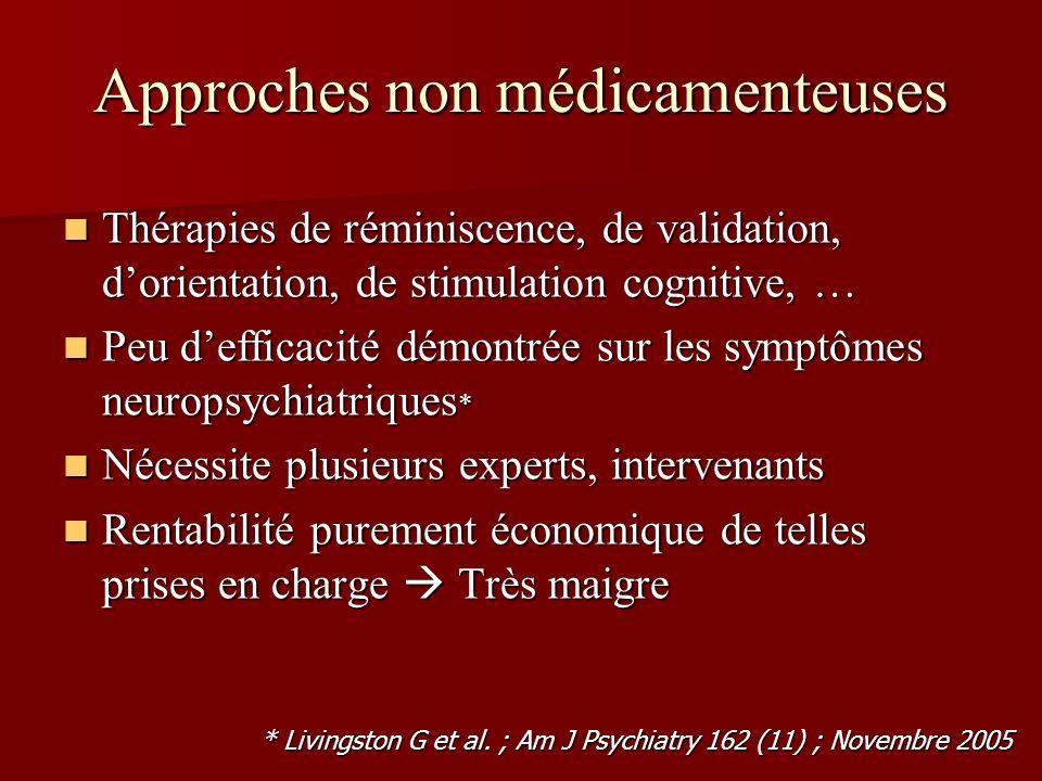Approches non médicamenteuses Thérapies de réminiscence, de validation, dorientation, de stimulation cognitive, … Thérapies de réminiscence, de valida