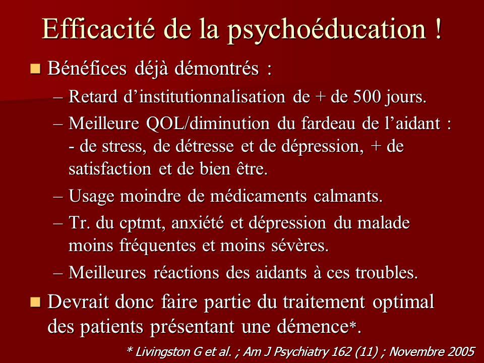 Efficacité de la psychoéducation ! Bénéfices déjà démontrés : Bénéfices déjà démontrés : –Retard dinstitutionnalisation de + de 500 jours. –Meilleure