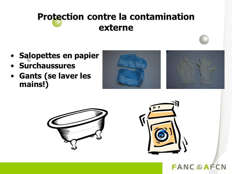 Protection contre la contamination externe Salopettes en papier Surchaussures Gants (se laver les mains!)
