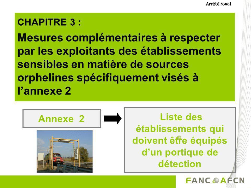 CHAPITRE 3 : Mesures complémentaires à respecter par les exploitants des établissements sensibles en matière de sources orphelines spécifiquement visé