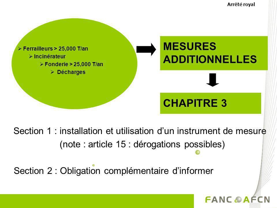 MESURES ADDITIONNELLES CHAPITRE 3 Section 1 : installation et utilisation dun instrument de mesure (note : article 15 : dérogations possibles) Section