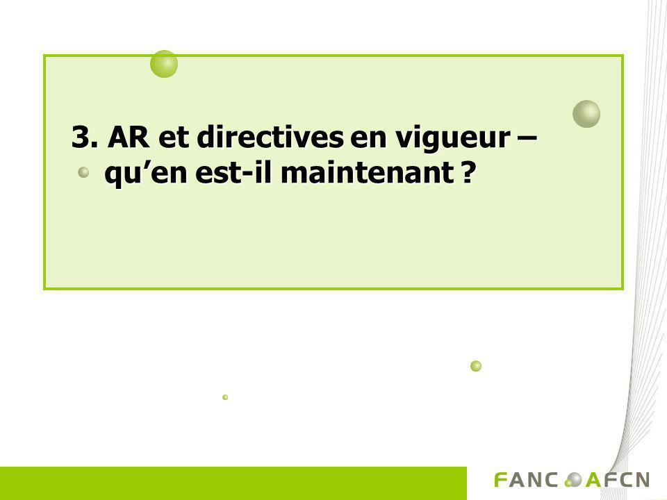3. AR et directives en vigueur – quen est-il maintenant ?