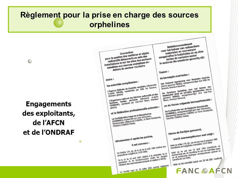 Règlement pour la prise en charge des sources orphelines Engagements des exploitants, de lAFCN et de lONDRAF