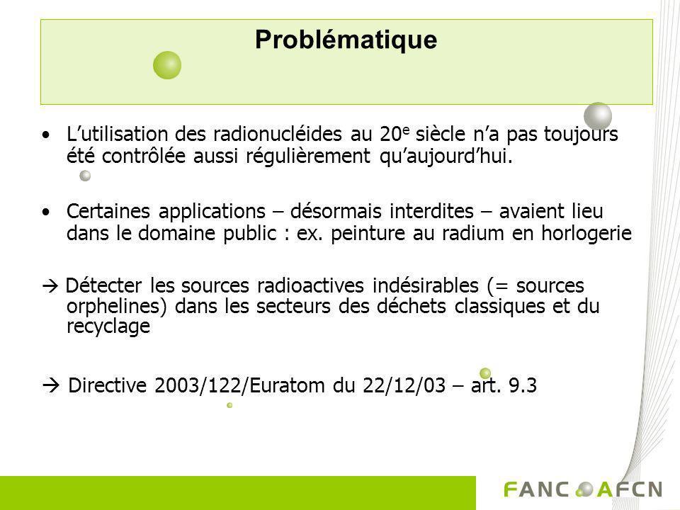 Problématique Exemple 1: Algericas (Sp)–1998 source de Cs-137 dans la ferraille 6 millions euros de dommages Exemple 2 : Cs-137 (51 TBq) dans les déblais dun hôpital 4 morts