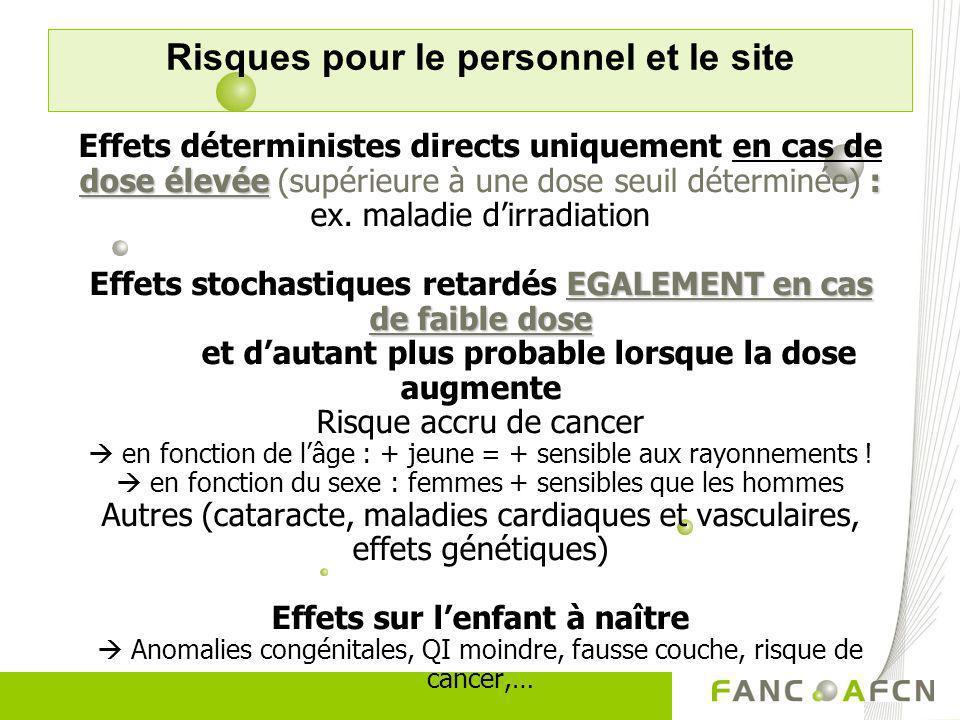 dose élevée : EGALEMENT en cas de faible dose Effets déterministes directs uniquement en cas de dose élevée (supérieure à une dose seuil déterminée) :